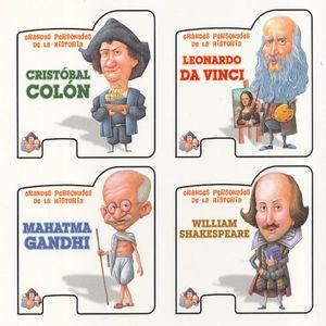 COL. GRANDES PERSONAJES DE LA HISTORIA. CRISTOBAL COLON / LEONARDO DA VINCI / MAHATMA GANDHI / WILLIAM SHAKESPEARE