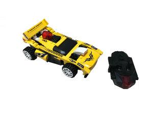RC Carro Racing de bloques para armar con control remoto (Color amarillo)