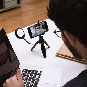 Vlogging Tripod Mini tripod con luz LED flexible