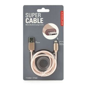 Super cable de carga rosa entrada Micro / iPhone 2 en 1