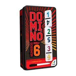 DOMINO DOBLE 6 NUMEROS CON 28 FICHAS DE PASTA (TIN METALICO) (D-2437)