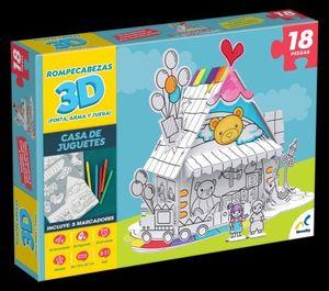 ROMPECABEZAS 3D PARA COLOREAR. CASA DE JUGUETES 18 PZAS. / JCA2441