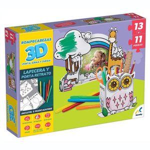 ROMPECABEZAS 3D PARA COLOREAR. LAPICERA Y PORTA RETRATO 24 PZAS. /