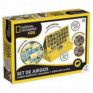 Set de Juegos National Geographic Kids (¿Sabes quién es?/ Memoria / Juego de la Oca)