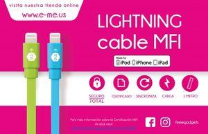CABLE PARA APPLE CERTIFICADO MFI LIGHTNING 1M E-ME (AZUL)