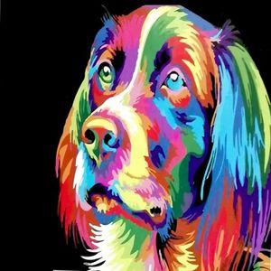 Perro de colores. Arte por número