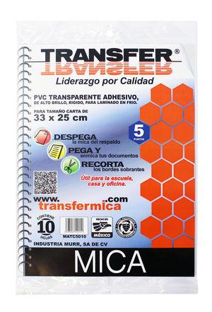 Mica adhesiva Transfer (Incluye 10 hojas)