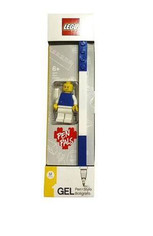 Bolígrafo de gel azul con figura Lego