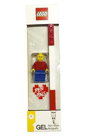 Bolígrafo de gel rojo con figura Lego