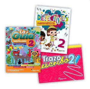 Paquete Primaria oficial Guía Santillana 2 + Detectives matemáticos