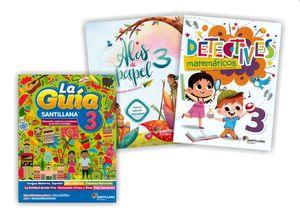 Paquete Primaria oficial Guía Santillana 3 + Alas de papel + Detectives matemáticos