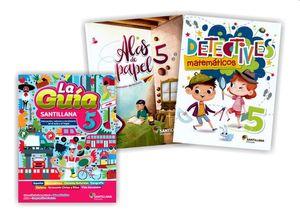 Paquete Primaria oficial Guía Santillana 5 + Alas de papel + Detectives matemáticos