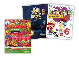 Paquete Primaria oficial Guía Santillana 6 + Alas de papel + Detectives matemáticos