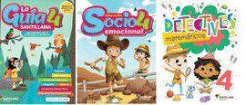 PAQ. GUIA SANTILLANA 4 + ED. SOCIOEMOCIONAL + DETECTIVES MATEMATICAS 4 / ED. 19 (MERCADO OFICIAL)