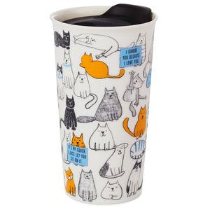 Taza de cerámica. Cat illustration travel mug