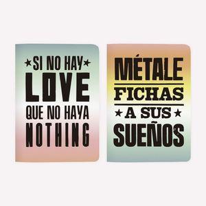 LIBRETAS POCKET SI NO HAY LOVE + FICHAS (2 PIEZAS)
