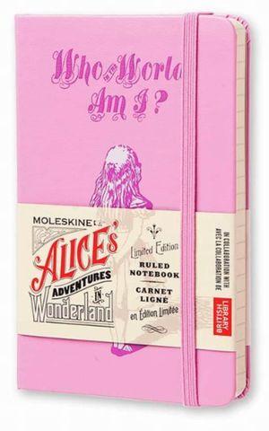 Libreta Moleskine Alice's Adventures in Wonderland / pd. (color rosa / pocket / hoja rayada)