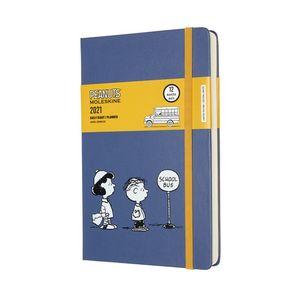 Agenda Moleskine diaria 2021 Peanuts School Bus / pd. (color azul / tamaño grande)