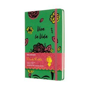 Libreta Moleskine Frida Kahlo Viva La Vida / pd. (color verde / tamaño grande / hoja rayada)