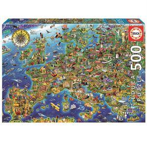 Rompecabezas Mapa Europeo Loco (500 pzas.)