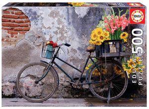 Rompecabezas Bicicleta con flores (500 Piezas)