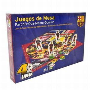JUEGOS DE MESA 4 EN 1 FUTBOL CLUB BARCELONA / PARCHIS OCA MEMORAMA DOMINO