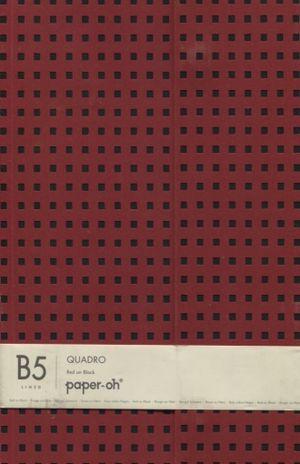 CUADERNO QUADRO RED ON BLACK LINED B5 DE RAYA