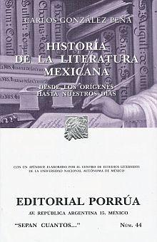 # 44. HISTORIA DE LA LITERATURA MEXICANA