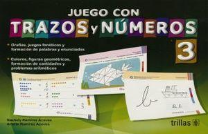 JUEGO CON TRAZOS Y NUMEROS 3. PREESCOLAR