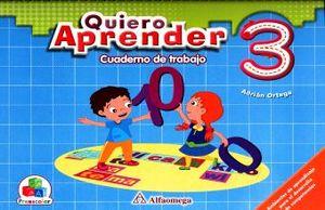 QUIERO APRENDER 3 CUADERNO DE TRABAJO. PREESCOLAR