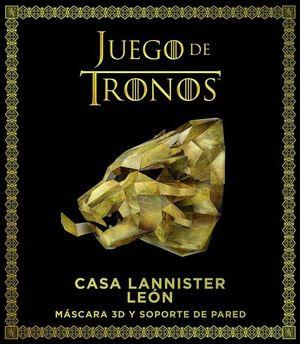 JUEGO DE TRONOS CASA LANNISTER LEON. MASCARA 3D Y SOPORTE DE PARED