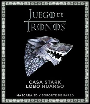 JUEGO DE TRONOS CASA STARK LOBO HUARGO. MASCARA 3D Y SOPORTE DE PARED