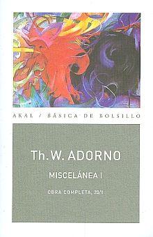 OBRA COMPLETA / THEODOR W. ADORNO / TOMO 20 / VOL. I MISCELANEA I