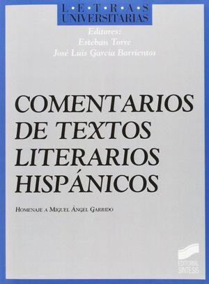 COMENTARIO DE TEXTOS LITERARIOS HISPANICOS