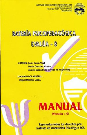BATERIA PSICOPEDAGOGICA EVALUA - 8 SEGUNDO CURSO DE LA ESO. VERSION 2.0