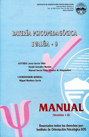 BATERIA PSICOPEDAGOGICA EVALUA - 9 TERCER CURSO DE EDUCACION SECUNDARIA OBLIGATORIA. VERSION 2.0