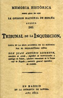 MEMORIA HISTORICA DEL TRIBUNAL DE LA INQUISICION (EDICION FACSIMILAR 1812)