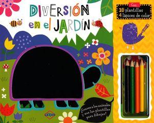 DIVERSION EN EL JARDIN (INCLUYE 10 PLANTILLAS Y 4 LAPICES DE COLOR)