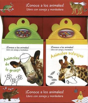 PAQ. ANIMALES DE LA GRANJA + ANIMALESSALVAJES / PD. (LIBROS CON SONAJA Y MORDEDERA)