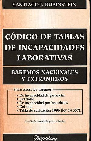 CODIGO DE TABLAS DE INCAPACIDADES LABORATIVAS.