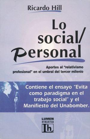 LO SOCIAL PERSONAL. APORTES AL RELATIVISMO PROFESIONAL EN EL UMBRAL DEL TERCER MILENIO