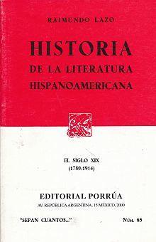 # 65. HISTORIA DE LA LITERATURA HISPANOAMERICANA