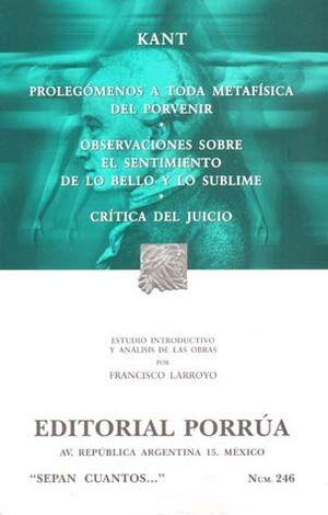 # 246. PROLEGOMENOS A TODA METAFISICA DEL PORVENIR