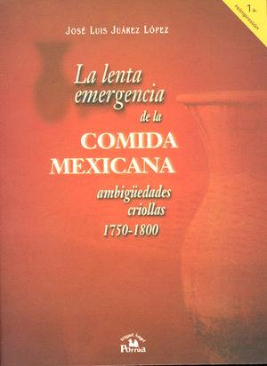 LENTA EMERGENCIA DE LA COMIDA MEXICANA AMBIGUEDADES CRIOLLAS (1750-1800), LA